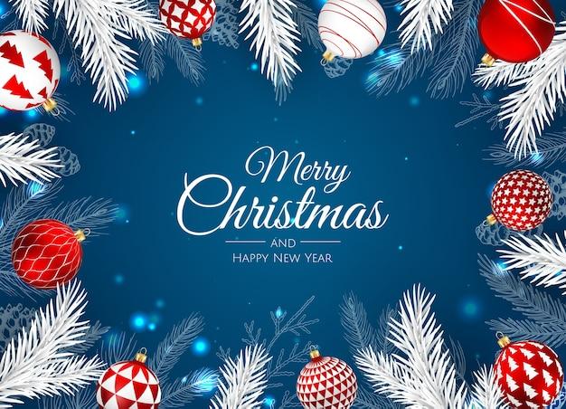 Wesołych świąt bożego narodzenia kartkę z życzeniami z dekoracjami
