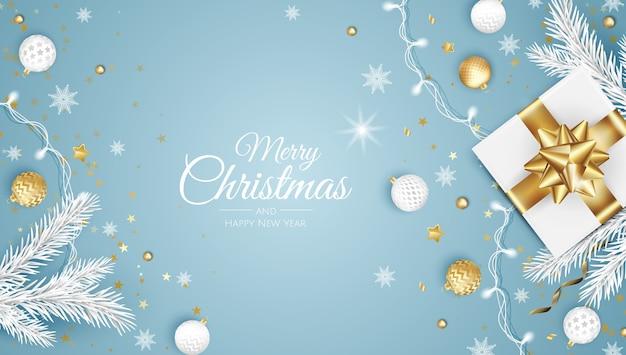 Wesołych świąt bożego narodzenia kartkę z życzeniami z drzewa nowego roku.