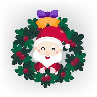 Wesołych świąt bożego narodzenia kartkę z życzeniami z mikołajem w boże narodzenie wieniec