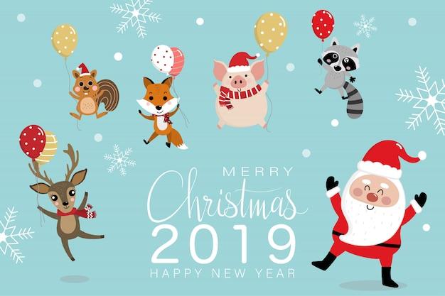 Wesołych świąt bożego narodzenia kartkę z życzeniami z mikołajem