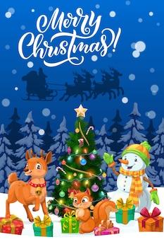 Wesołych świąt bożego narodzenia kartkę z życzeniami z saniami santa xmas, bałwanem i zwierzętami. choinka, prezenty i renifery, pudełka na prezenty, śnieg i gwiazdki, skarpety, cukierki i kulki, lampki i wiewiórka