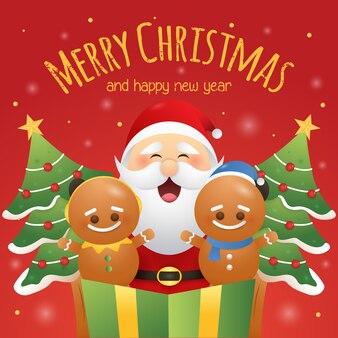 Wesołych świąt bożego narodzenia kartkę z życzeniami z słodkie ciasteczka i santa