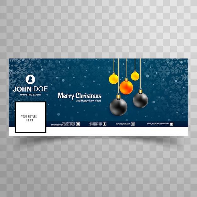 Wesołych świąt bożego narodzenia karty z projekt szablonu okładki facebook okładka
