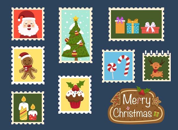 Wesołych świąt bożego narodzenia kolekcja ilustracji wektorowych kart świątecznych