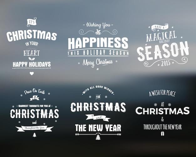 Wesołych świąt bożego narodzenia kolekcja napisów. wektor zapasów