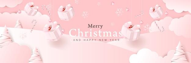 Wesołych świąt bożego narodzenia kompozycja tła w kolorze różowego stylu cięcia papieru.