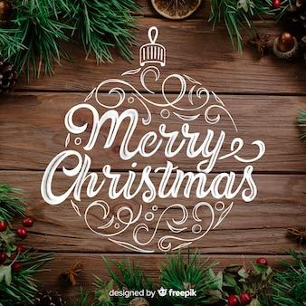 Wesołych świąt bożego narodzenia koncepcja z napisem
