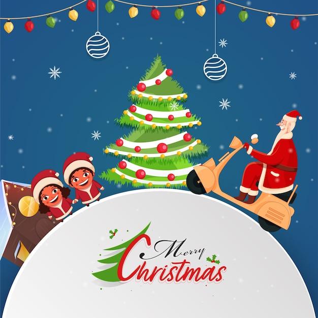 Wesołych świąt bożego narodzenia koncepcja z santa claus jazda skuterem, ozdobne choinki