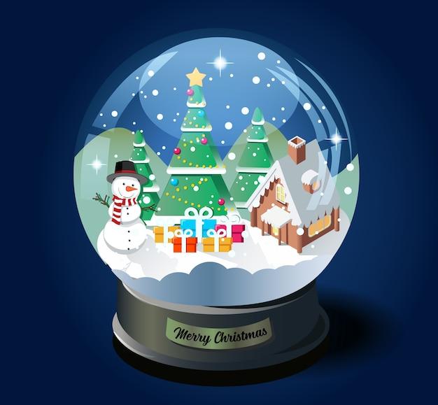 Wesołych świąt bożego narodzenia kryształowa kula z izometryczną ilustracją choinki, domu i bałwana.