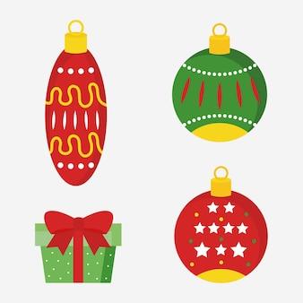 Wesołych świąt bożego narodzenia kule i projekt prezentów, motyw zimowy.