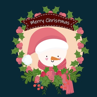 Wesołych świąt bożego narodzenia ładny bałwan w kreskówka wstążka wieniec holly berry