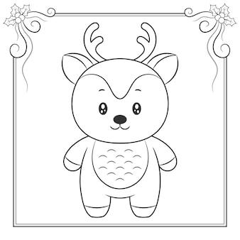 Wesołych świąt bożego narodzenia ładny rysunek szkic renifera do kolorowania