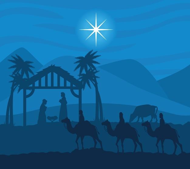 Wesołych świąt bożego narodzenia mary joseph baby i trzech mędrców projektują, sezon zimowy i dekoracje