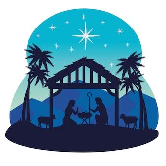 Wesołych świąt bożego narodzenia mary joseph projekt niemowlęcia i owiec, sezon zimowy i dekoracje
