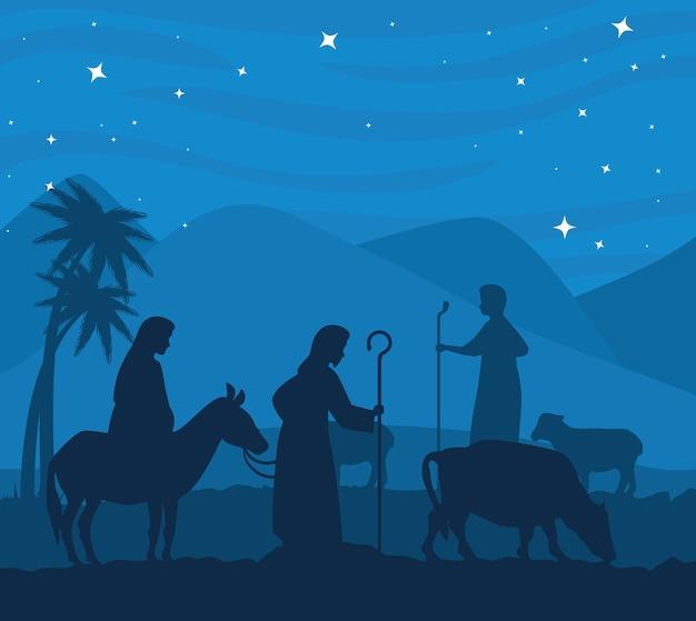 Wesołych świąt bożego narodzenia maryja na osiołku józefie i krowie projekt, sezon zimowy i dekoracja