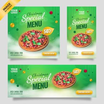 Wesołych świąt bożego narodzenia menu specjalne ulotka szablon mediów społecznościowych z zielonym tłem gradientu