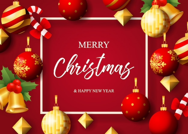 Wesołych świąt bożego narodzenia napis, bombki, dzwonki i jemioła