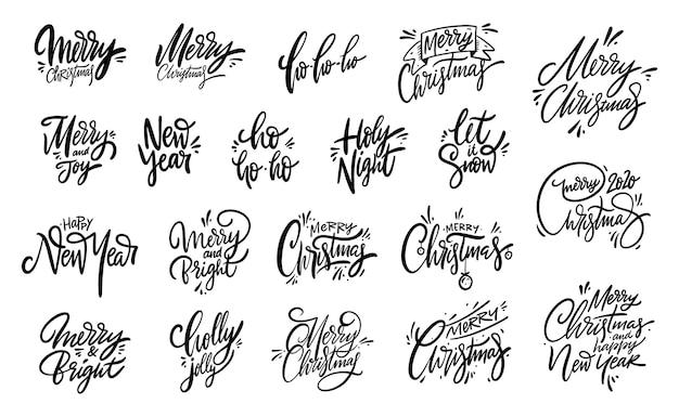 Wesołych świąt bożego narodzenia napis frazę duży zestaw. ilustracja wektorowa kolekcja elementów wakacje. odosobniony