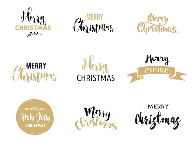 Wesołych świąt bożego narodzenia napis i typografia dla karty z pozdrowieniami