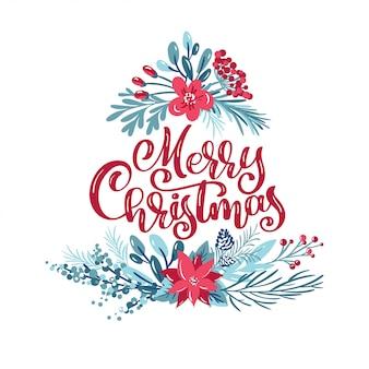 Wesołych świąt bożego narodzenia napis kaligraficzna napis odręczny tekst. kartka z życzeniami