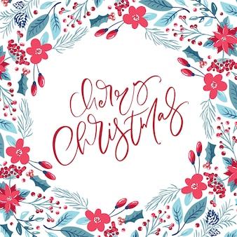 Wesołych świąt bożego narodzenia napis kaligraficzna odręczny tekst wektor. kartka z życzeniami
