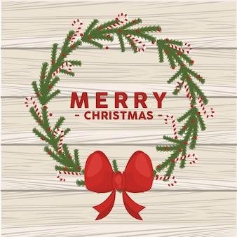 Wesołych świąt Bożego Narodzenia Napis Karty W Wieniec Korony Ilustracji Premium Wektorów
