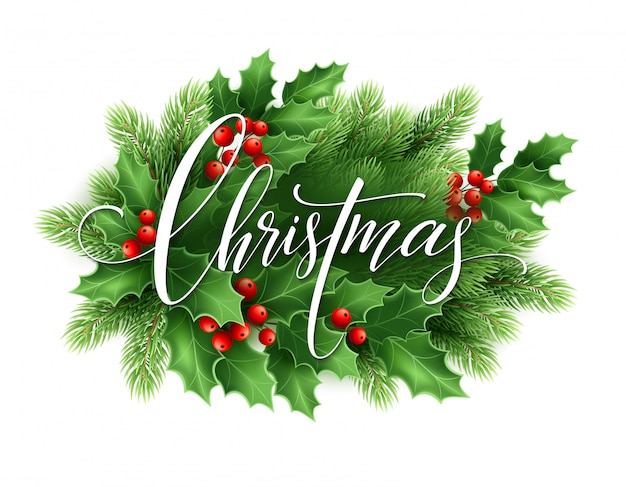 Wesołych świąt bożego narodzenia napis karty z holly