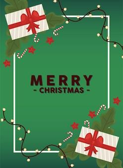 Wesołych świąt bożego narodzenia napis karty z ilustracją liści i prezentów