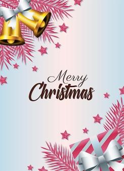 Wesołych świąt bożego narodzenia napis karty z ilustracją prezent i dzwonki
