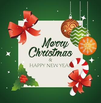 Wesołych świąt bożego narodzenia napis karty z kulkami i słodką trzciną projekt ilustracji