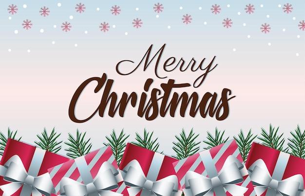 Wesołych świąt bożego narodzenia napis karty z prezentami przedstawia ilustrację