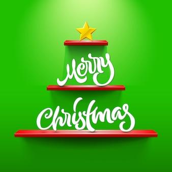 Wesołych świąt bożego narodzenia napis na półkach w kształcie christmastree
