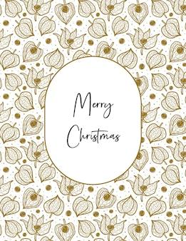 Wesołych świąt bożego narodzenia napis na ramie z zimową wiśnią physalis