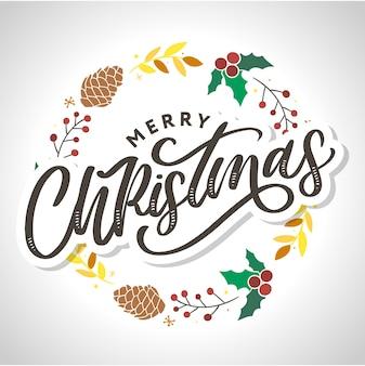 Wesołych świąt bożego narodzenia napis pędzla. ręcznie rysowane elementy projektu.