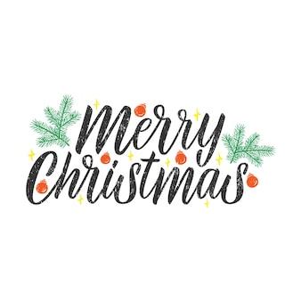 Wesołych świąt bożego narodzenia napis. projekt typografii, cytat uroczystości na baner, tła, plakaty, kartki z życzeniami. ręcznie rysowane kaligrafia. ilustracja wektorowa na białym tle.