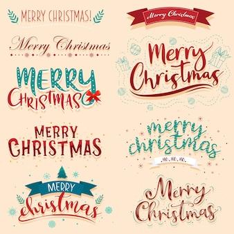 Wesołych świąt bożego narodzenia napis projekt zestaw.