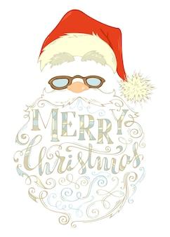 Wesołych świąt bożego narodzenia napis. twarz świętego mikołaja, czapka z pomponem, okulary i kręcona broda.