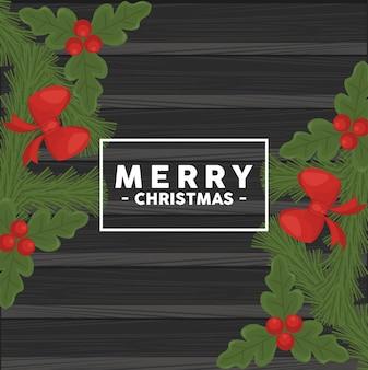 Wesołych świąt bożego narodzenia napis w kwadratowej ramce z kokardkami