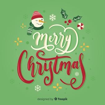Wesołych świąt bożego narodzenia napis z bałwana