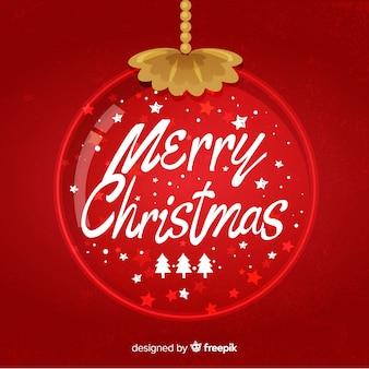 Wesołych świąt bożego narodzenia napis z boże narodzenie kula