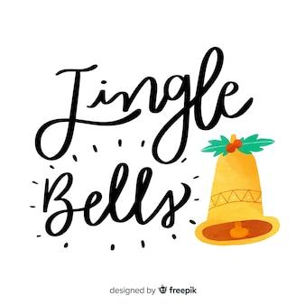 Wesołych świąt bożego narodzenia napis z dźwięczących dzwonów