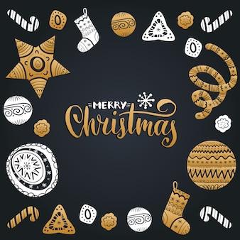 Wesołych świąt bożego narodzenia napis z elementami świątecznego nowego roku. wesołych świąt typografia.