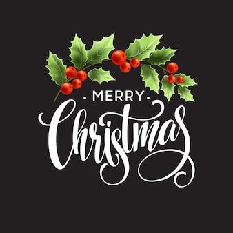 Wesołych świąt bożego narodzenia napis z holly berry