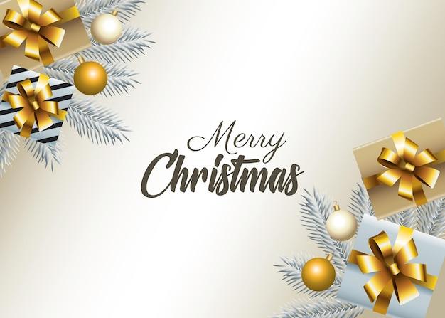 Wesołych świąt bożego narodzenia napis z jodły i ilustracji prezentów