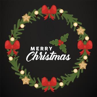 Wesołych świąt bożego narodzenia napis z koronami z kokardek i gwiazd