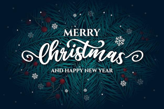 Wesołych świąt bożego narodzenia napis z liści sosny