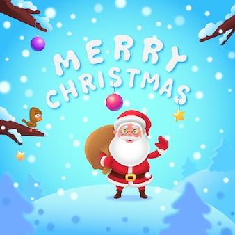 Wesołych świąt bożego narodzenia napis z mikołajem