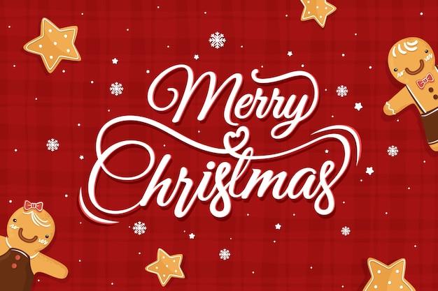 Wesołych świąt bożego narodzenia napis z piernika