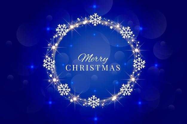 Wesołych świąt bożego narodzenia napis z ramą płatki śniegu