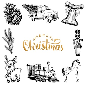Wesołych świąt bożego narodzenia napis z rysunkami zabawek szopka. wesołych świąt typografia.